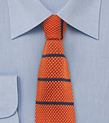 Skinny Knit Tie in Orange with Blue Stripes