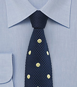 Polka Dotted Knit Tie in Navy and Pastel Yellow