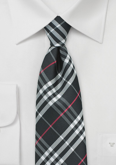 Tartan Plaid Tie in Black, Silver, Red