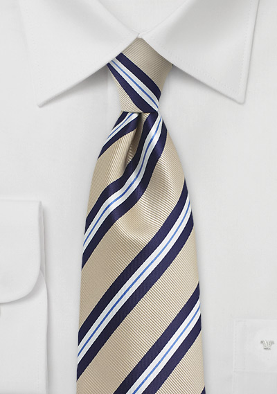 Repp Striped XL Length Tie in Beige and Navy