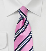 Preppy Striped Necktie in Pink and Navy