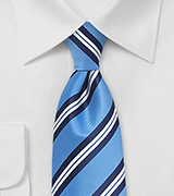 Modern Repp Tie in Light Blue and Navy