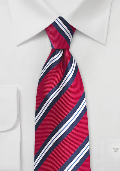 Repp Striped Tie in Red and Blue in XL