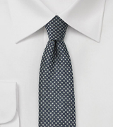 Basketweave Check Tie in Charcoal