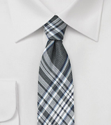 Gray and Silver Plaid Skinny Tie
