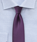 Matte Grape Purple Blue Skinny Silk Tie