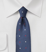 Navy Blue Tie with Red and White Stars