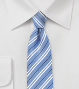 Sky Blue Striped Cotton Tie