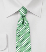 Cotton Skinny Striped Tie in Grass Green