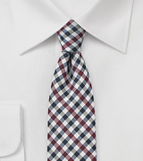 Wine Red and Navy Gingham Tie