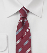Red and Gray Stripes Wool Tie