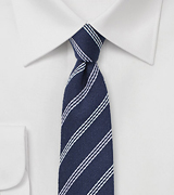Wool Striped Skinny Tie