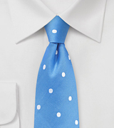Summer Blue Silk Tie with White Polka Dots