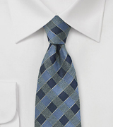 Gingham Check Tie in Indigo