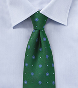 Forest Green Tie with Light Blue Florals