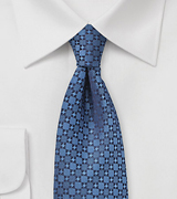 Geometric Check Tie in Indigo