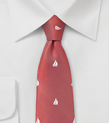 Yachting Themed Skinny Tie in Red