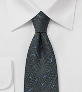 Wool Woven Tie in Charcoal and Blue