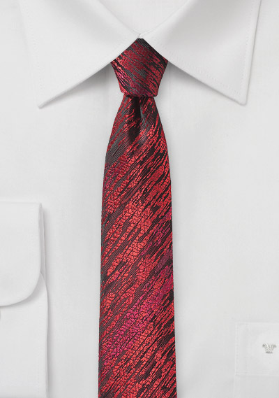 Trendy Skinny Tie with Wood Grain Texture