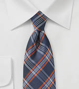 Navy, Orange, and Silver Tartan Tie