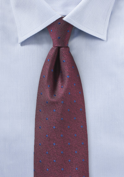 Port Red and Blue Polka Dot Tie