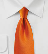 Persimmon Orange Satin Silk Tie