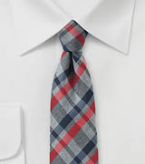 Trendy Autumn Plaid in Gray, Blue, Red