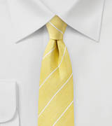 Linen Striped Summer Tie in Snapdragon Yellow