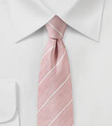 Blush Pink Linen Tie with White Stripes