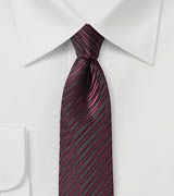 Burgundy Skinny Tie with Stripes