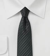Jet Black Skinny Tie with Stripes