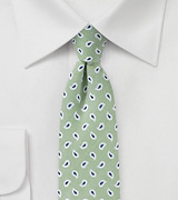 Light Sage Green Skinny Linen Tie
