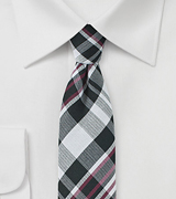 Cotton Plaid Tie in Black, Silver, Red
