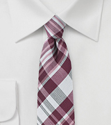 Textured Cotton Plaid Tie in Burgundy