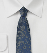 Slim Cut Floral Tie in Teal