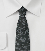 Black Designer Tie with Floral Weave