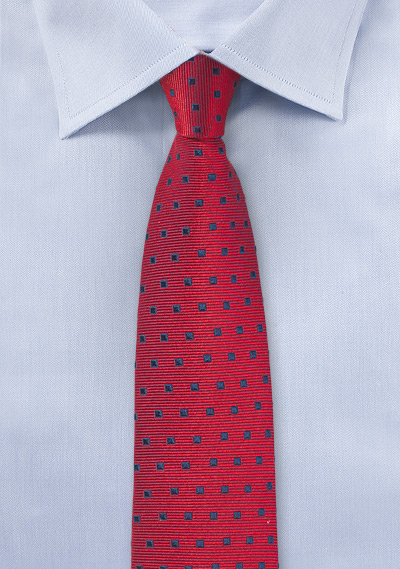 Cherry Red Tie with Navy Squares