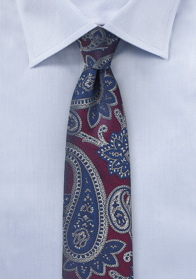 Plum Color Skinny Tie with Silver and Blue Paisleys