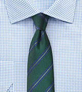 Striped Tie in Hunter Green and Navy