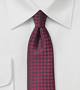 Cordovan Red Houndstooth Check Tie