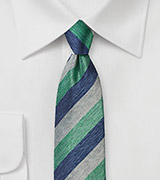 Summer Striped Silk Tie in Green, Gray, and Blue