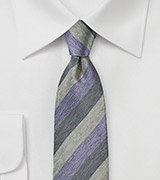Lavender and Gray Striped Tie