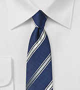 Modern Navy and Silver Striped Silk Tie