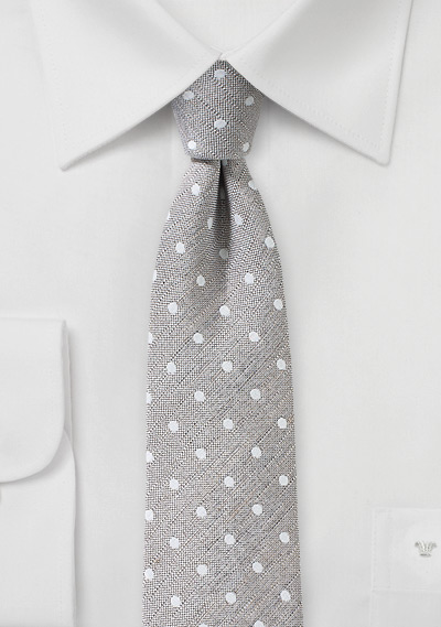 Wheat Colored Polka Dot Linen Tie