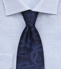 Classic Paisley Weave Tie in Navy and Royal Blue