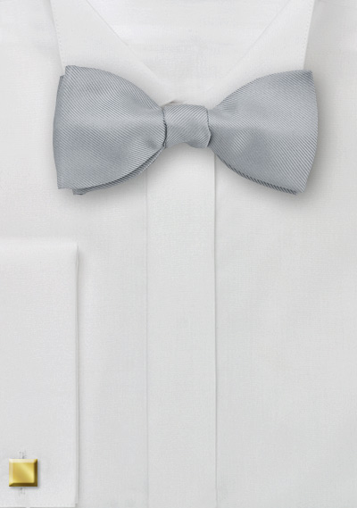 Silver Ribbed Self Tied Bow Tie