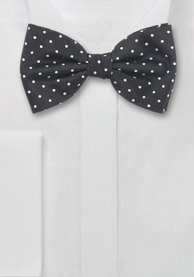 Polka Dot Bow Tie Black White