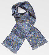 Moroccan Paisley Scarf in Blues and Golds