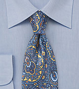 Moroccan Paisley Tie In Blues and Yellows