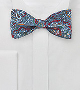 Moroccan Paisley Bow tie in Red and Blue